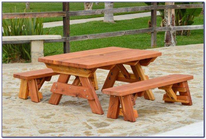Wood Picnic Table With Detached Benches