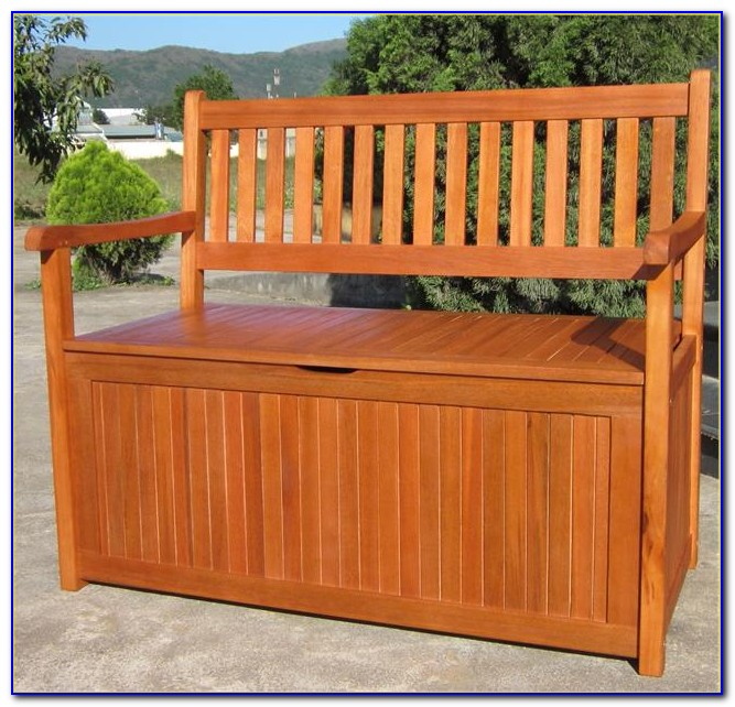 Wooden Benches With Storage Outdoor