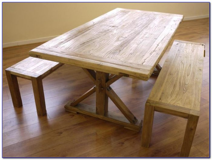 Wooden Dining Table With Bench And Chairs
