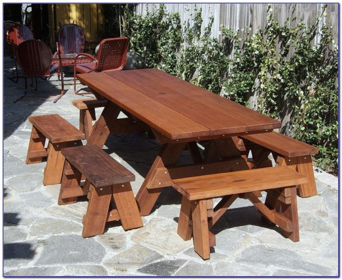 Wooden Picnic Table With Detached Benches