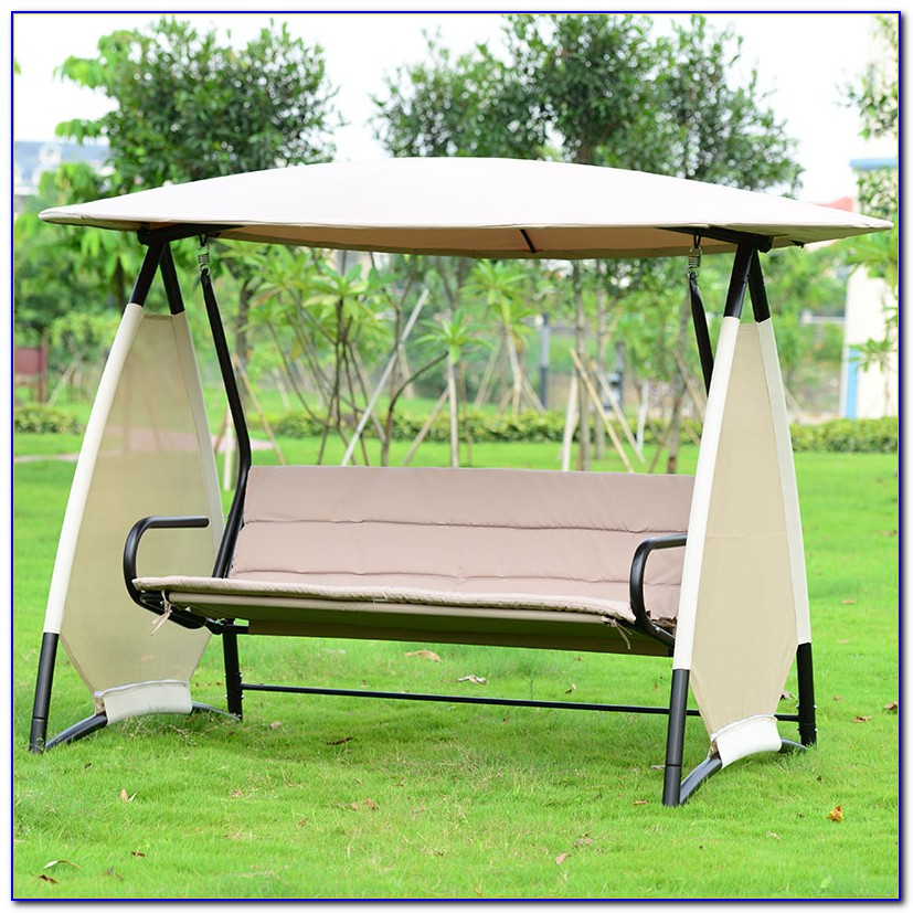 Wooden Swing With Canopy