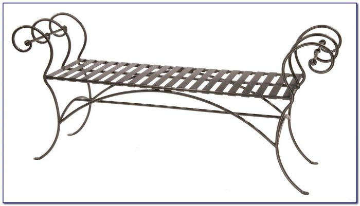 Wrought Iron Backless Garden Bench