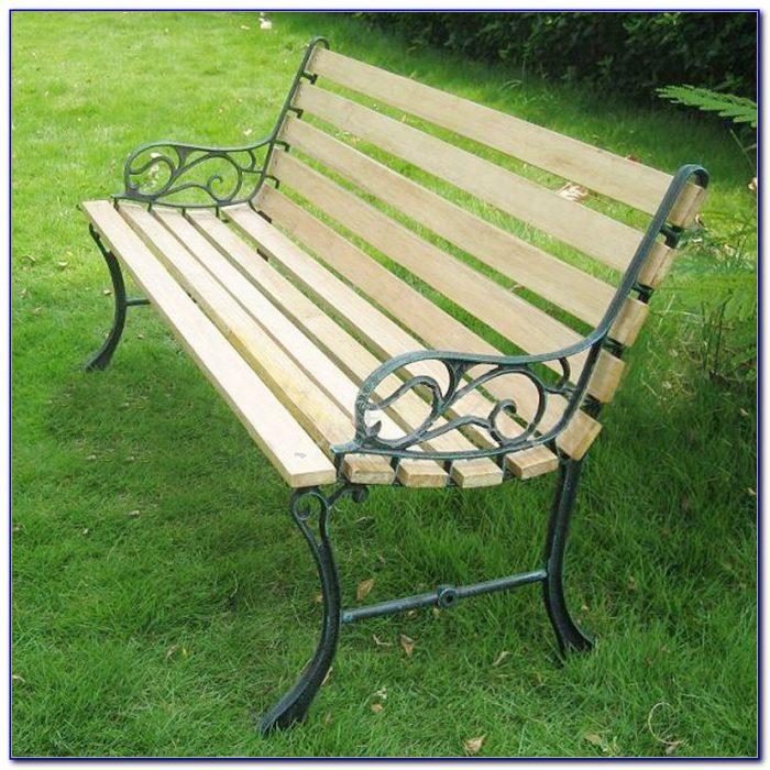Wrought Iron Bench Wood Slats