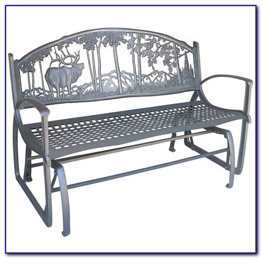 Wrought Iron Outdoor Glider Bench