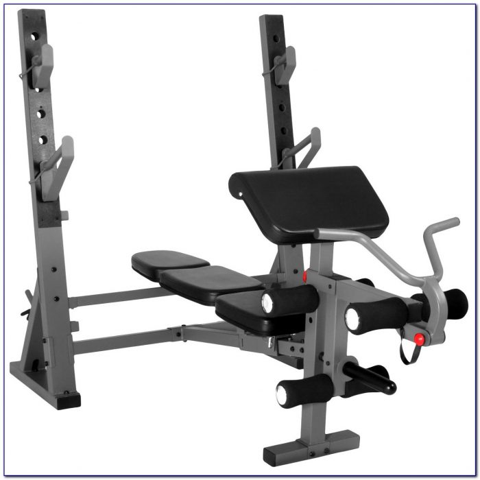 Adjustable Weight Bench With Leg Curl Extension And Preacher Pad Attachments