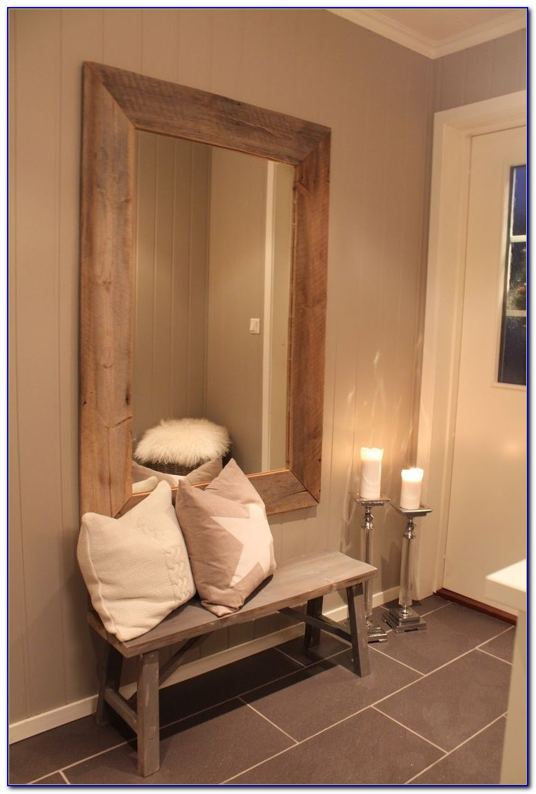 Antique Hall Tree Bench With Mirror