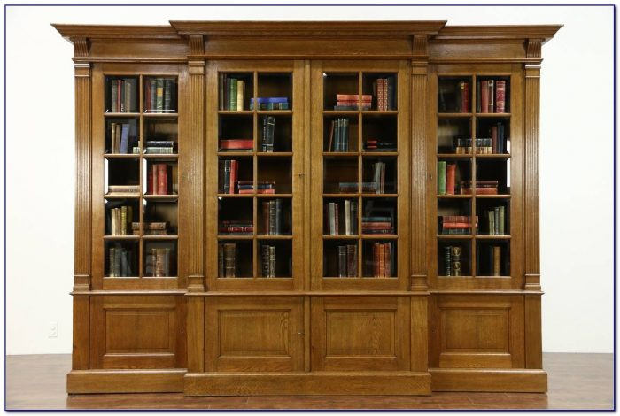 Antique Walnut Bookcase With Glass Doors