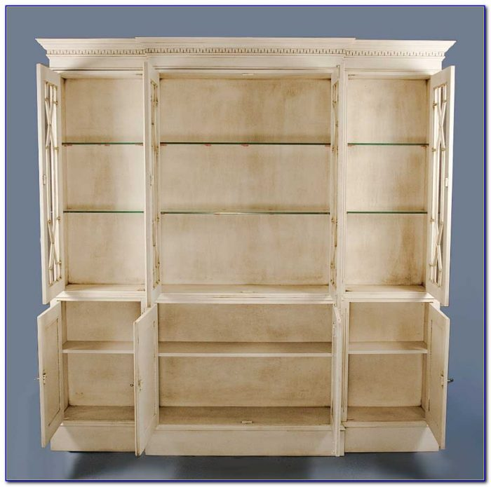 Antique White Bookcase With Glass Doors