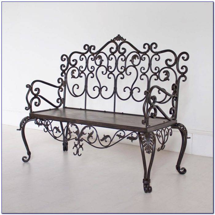 Antique Wrought Iron Bench Outdoor