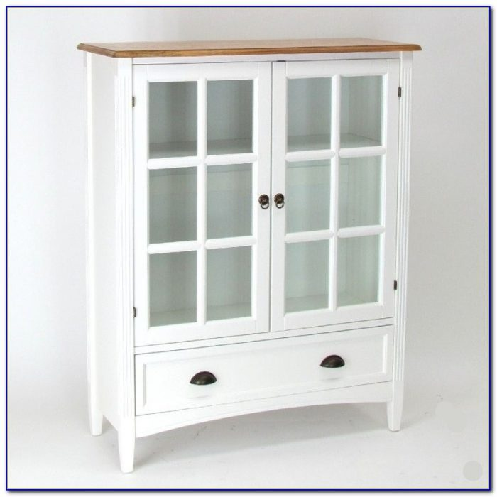 Bookcase With Glass Doors White