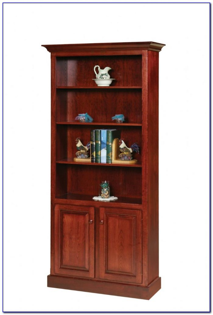 Cherry Wood Bookcase With Doors
