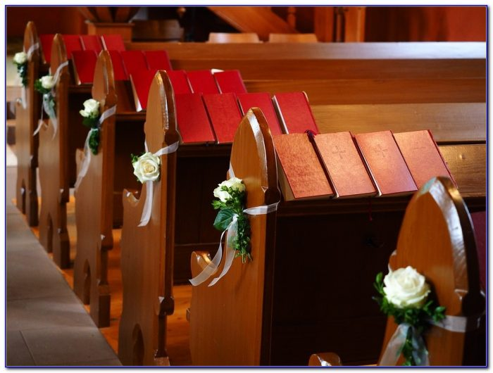 Church Pew Decorations Winter Wedding