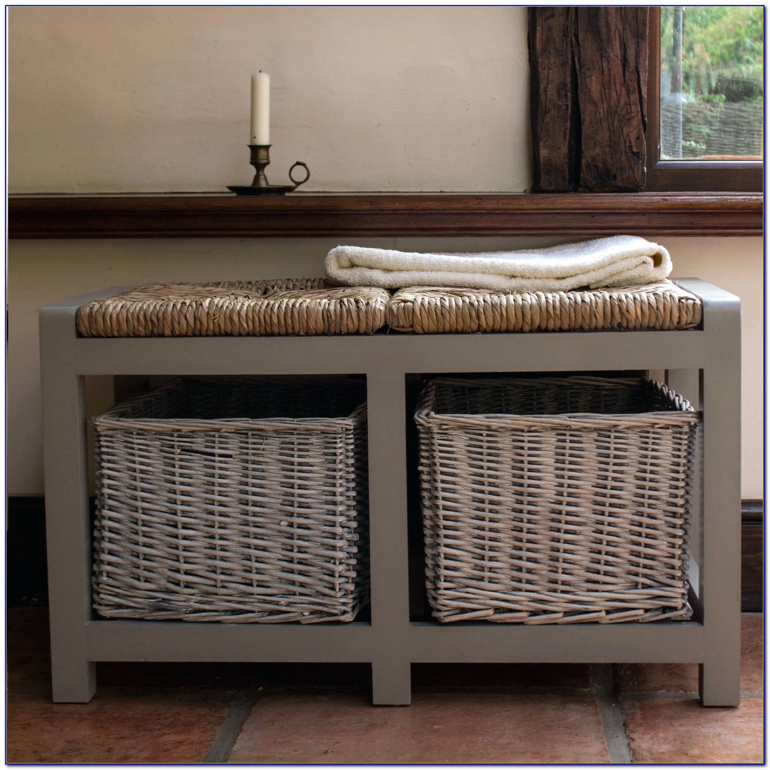 Coaster Entryway Bench With Storage Baskets And Cushions Black