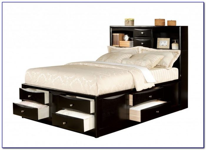 Cypres Queen Storage Bed With Bookcase Headboard