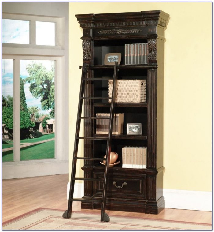 Bookshelf Ladder And Rail Bookcase Home Design Ideas