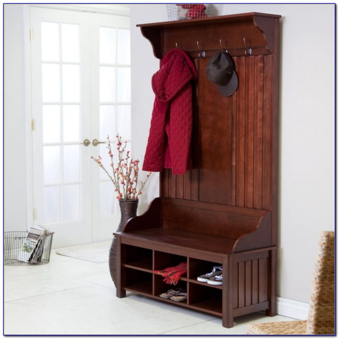 Entryway Wood Hall Tree Coat Rack Storage Bench
