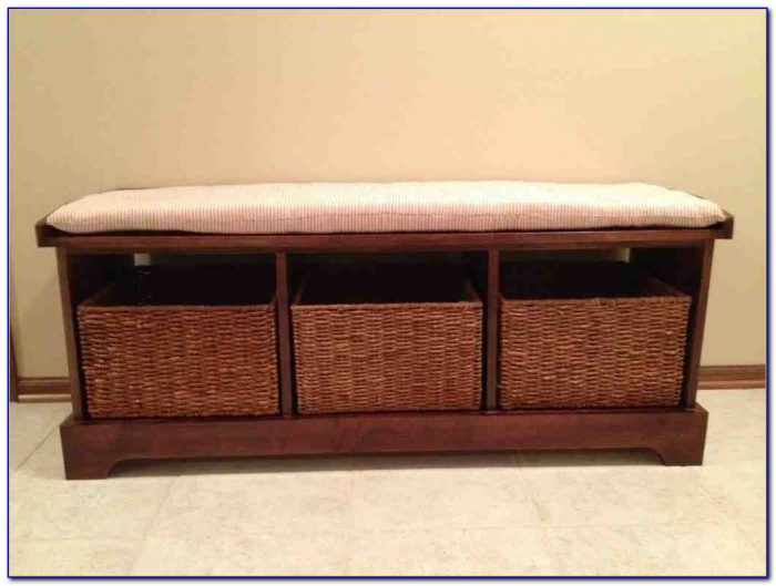 Hall Tree Bench With Baskets