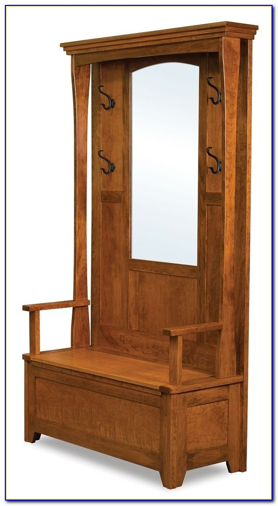 Hall Tree Bench With Mirror