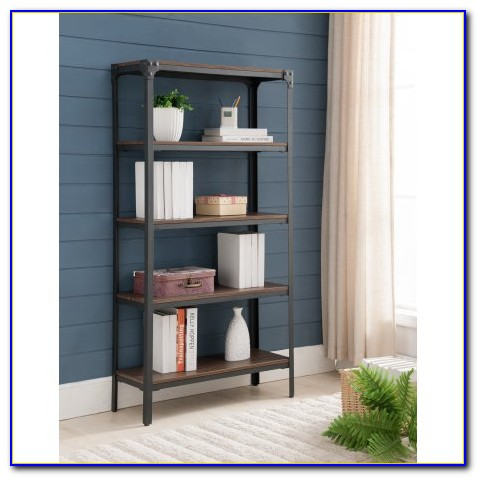 Industrial Metal Wood Bookcase
