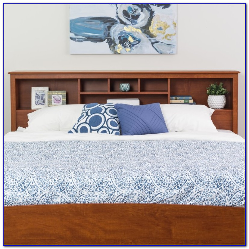 King Bookcase Headboard With Storage