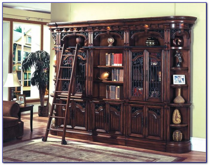 Library Bookcase Wall Unit With Ladder Bookcase Home