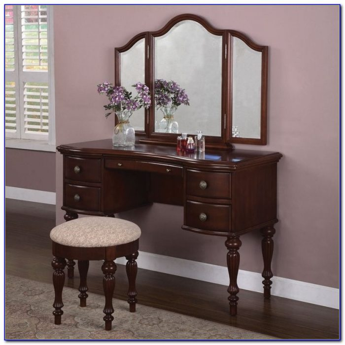 Makeup Vanity Table With Mirror And Bench