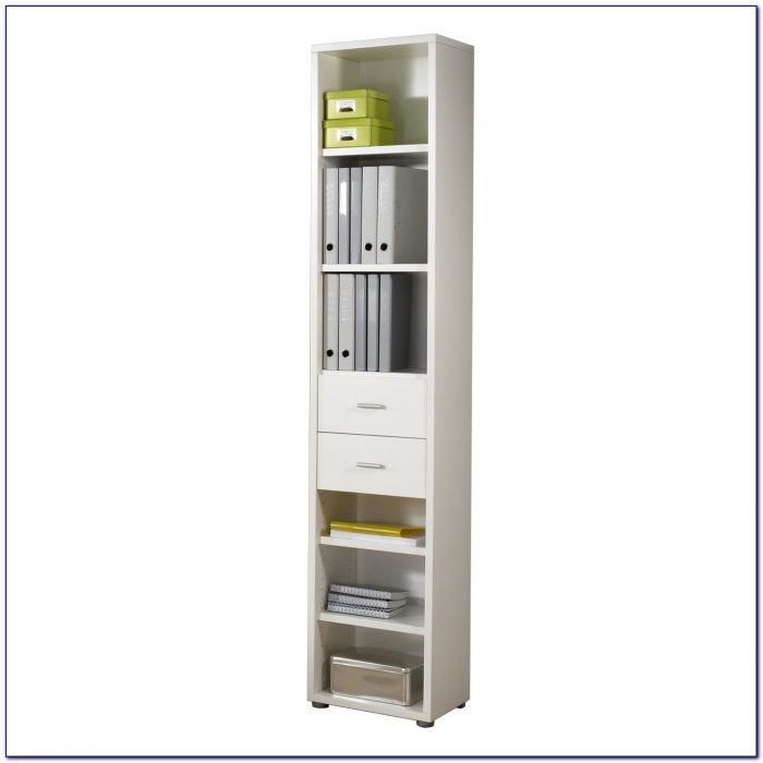 Narrow Tall Bookcase White