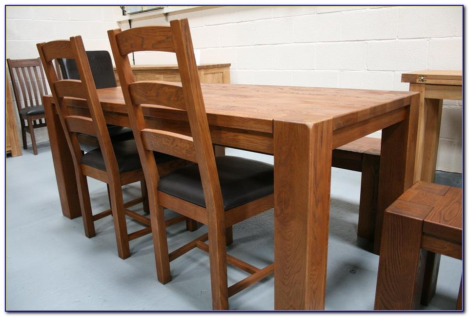 Oak Dining Table And Bench Set