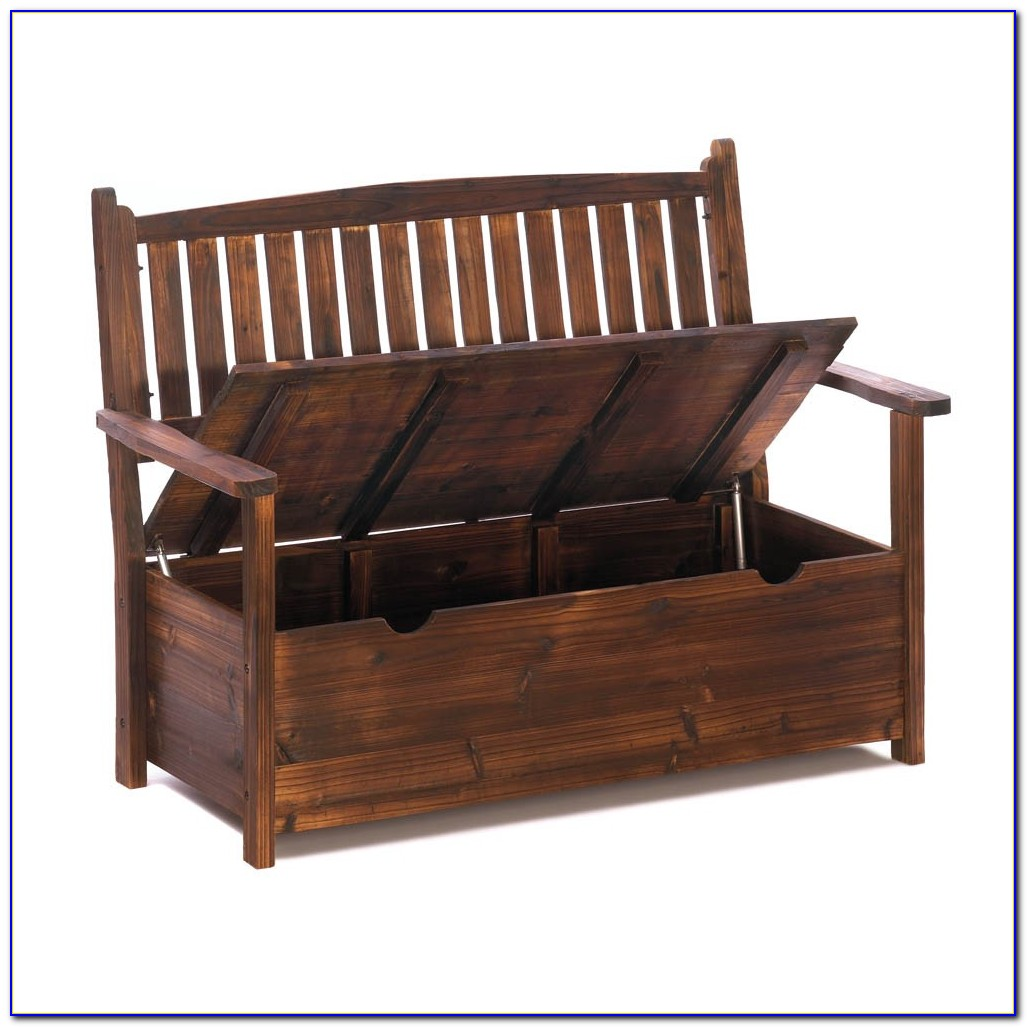 Outdoor Wooden Bench With Storage Underneath