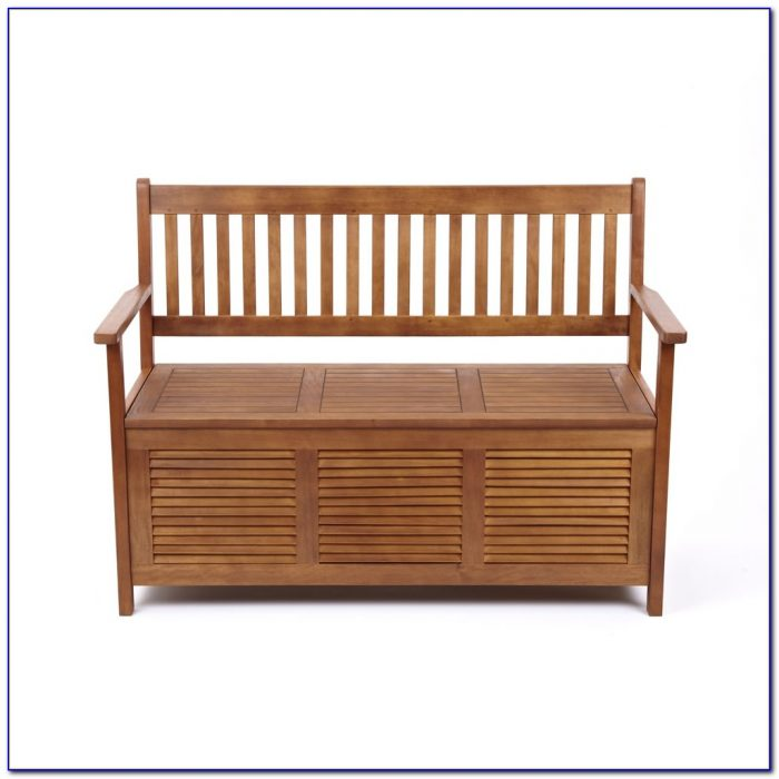 Outdoor Wooden Storage Bench With Cushion