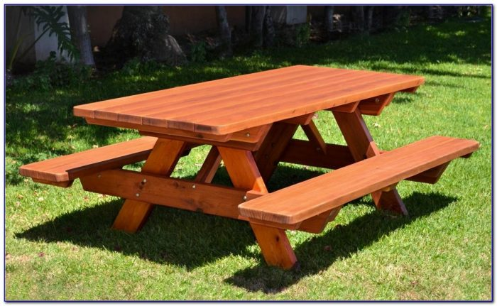 Outdoor Wooden Table And Bench Seats