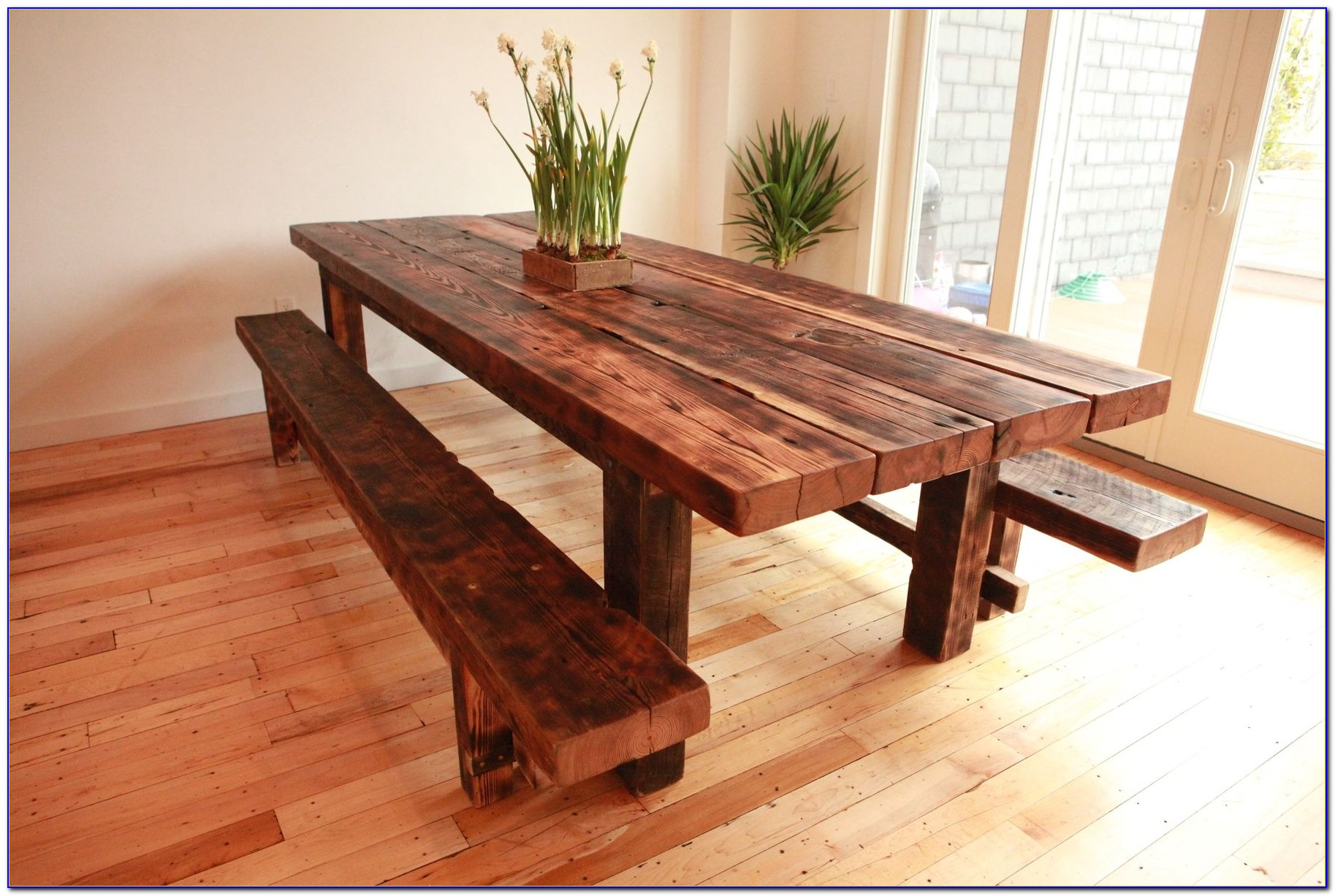 Rustic Bench For Dining Room Table