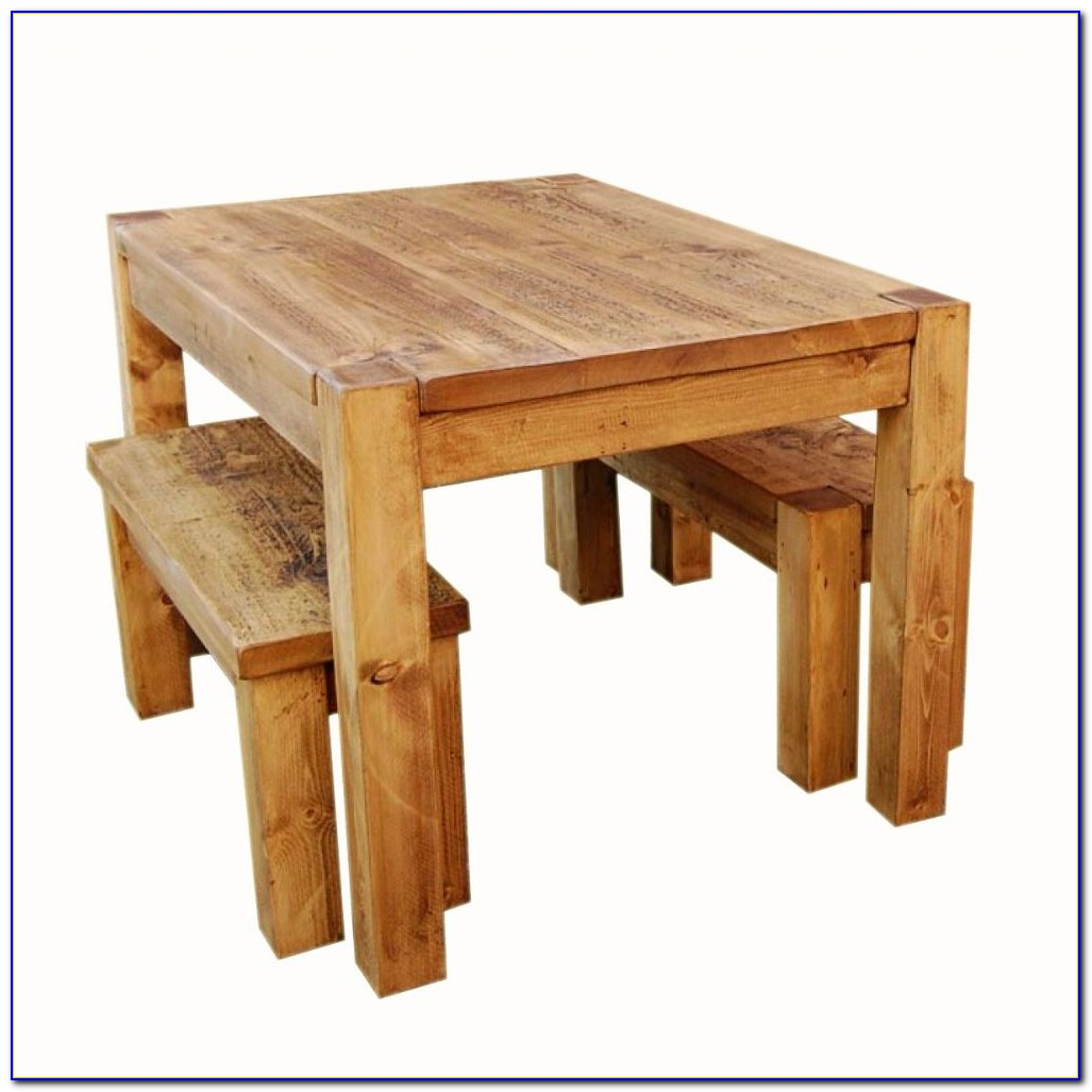 Rustic Oak Dining Table And Bench