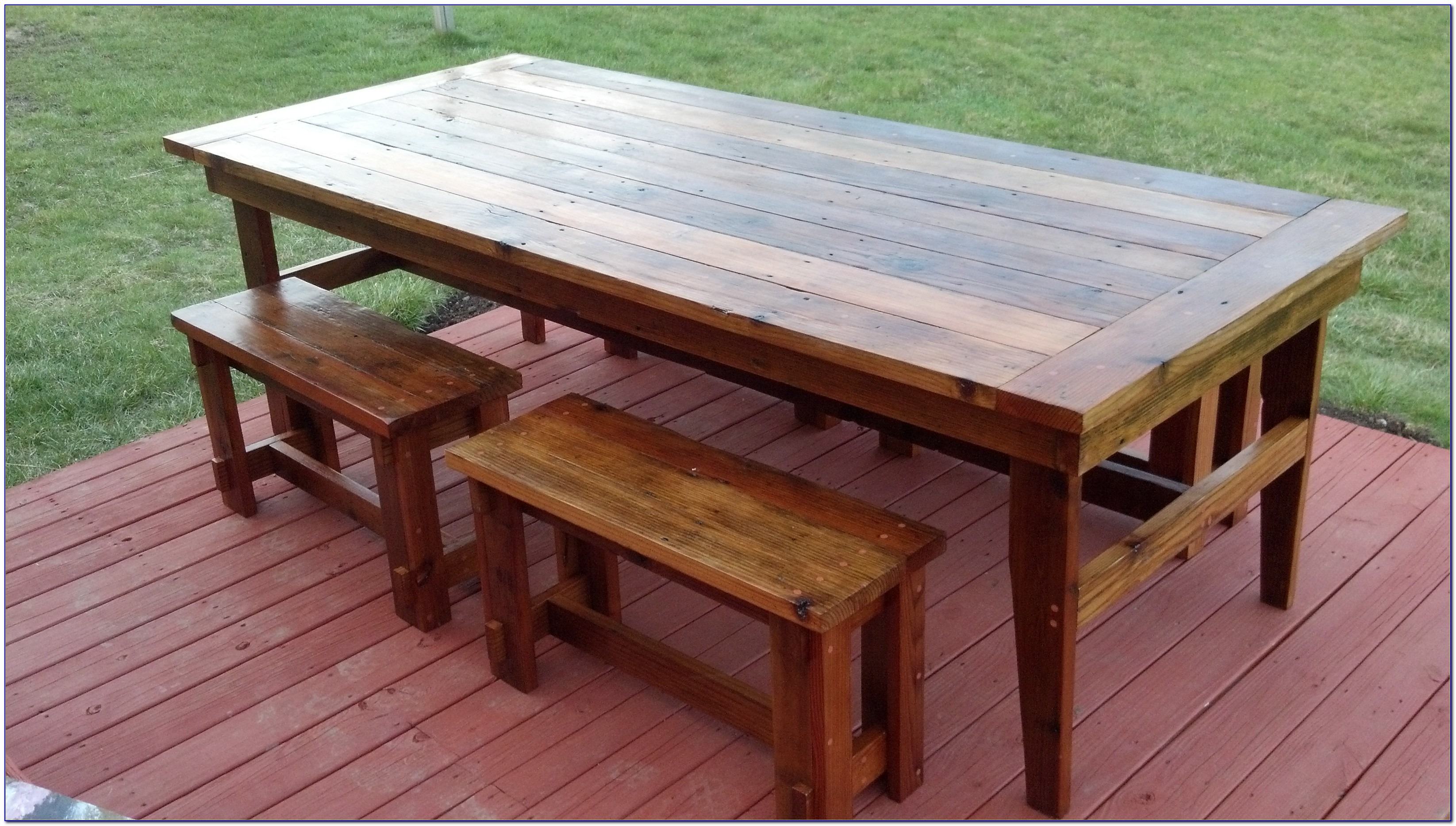 Rustic Oak Dining Table And Benches