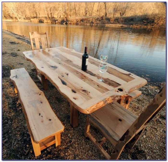 Rustic Wooden Dining Table And Bench