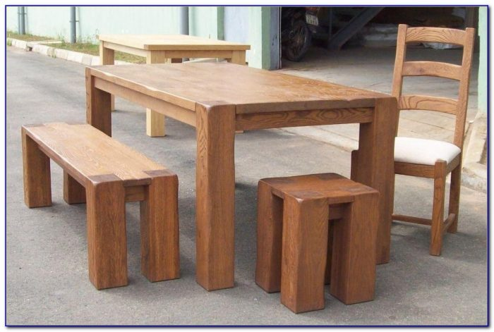 Small Oak Table And Benches