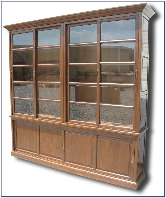 Solid Wood Bookcases With Glass Doors