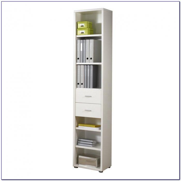 Tall Narrow Bookcase White