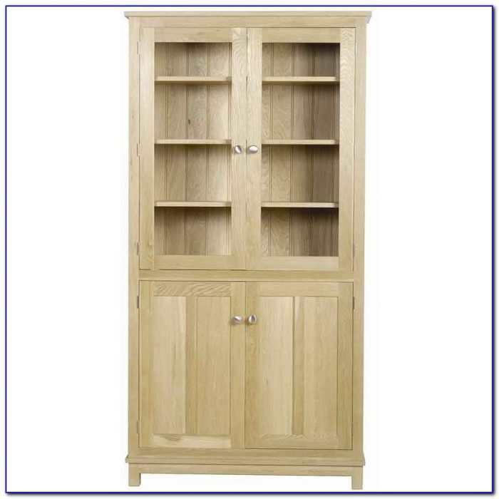 Tall Oak Bookcase With Doors
