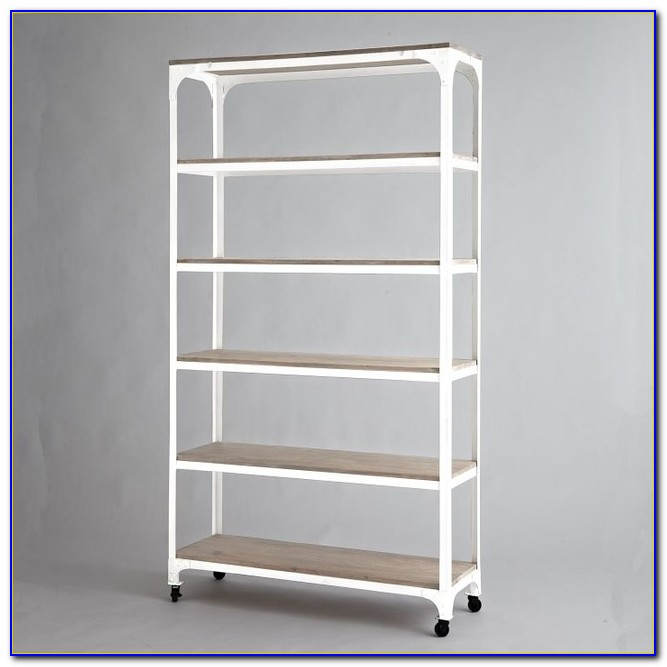 White Bookcase With Baskets