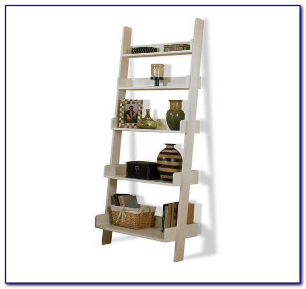 Narrow White Leaning Bookcase
