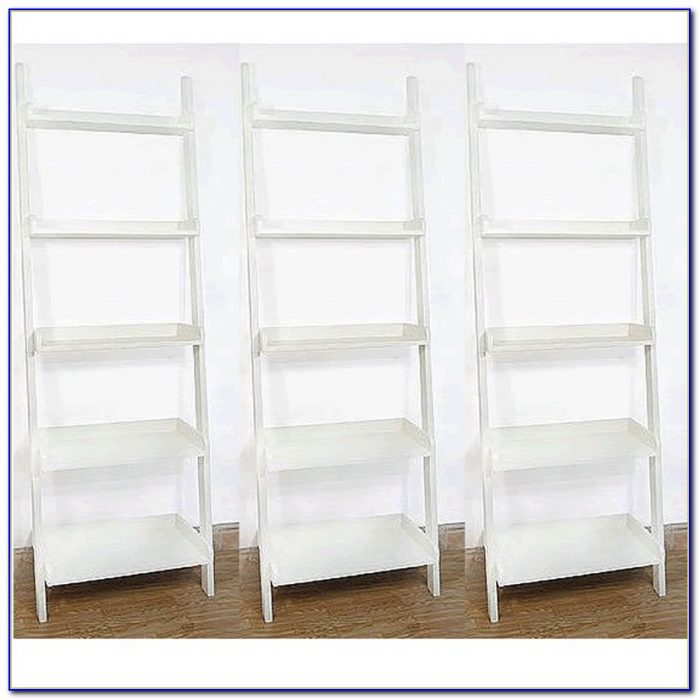 White Leaning Bookcase Desk