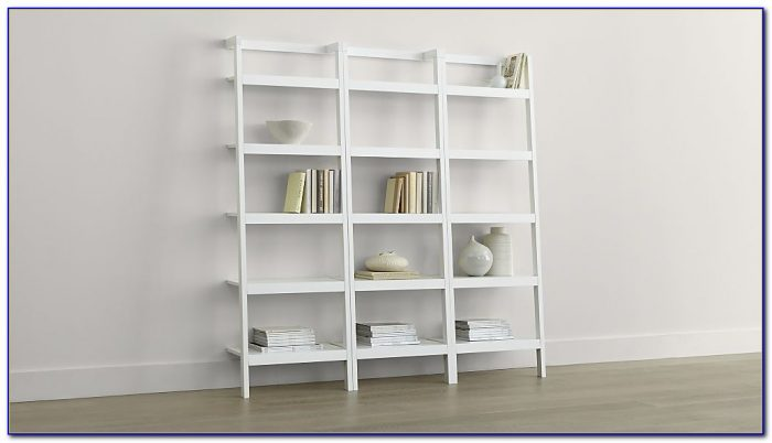White Leaning Bookshelf Desk
