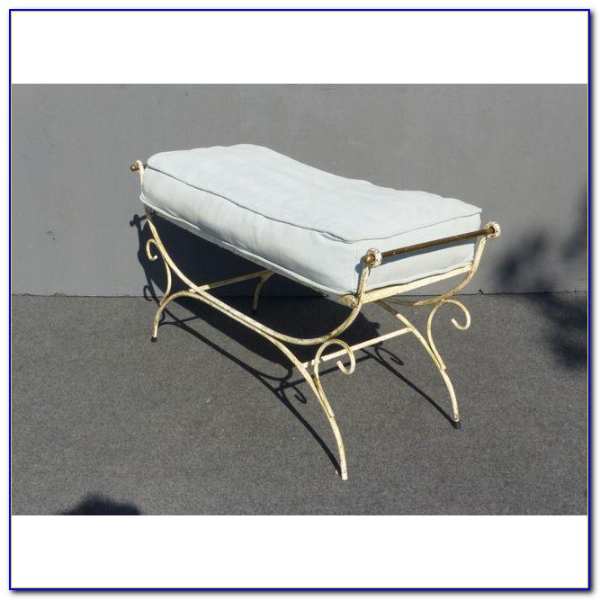 White Wrought Iron Vanity Chair