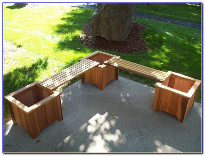 Wood Bench With Planters