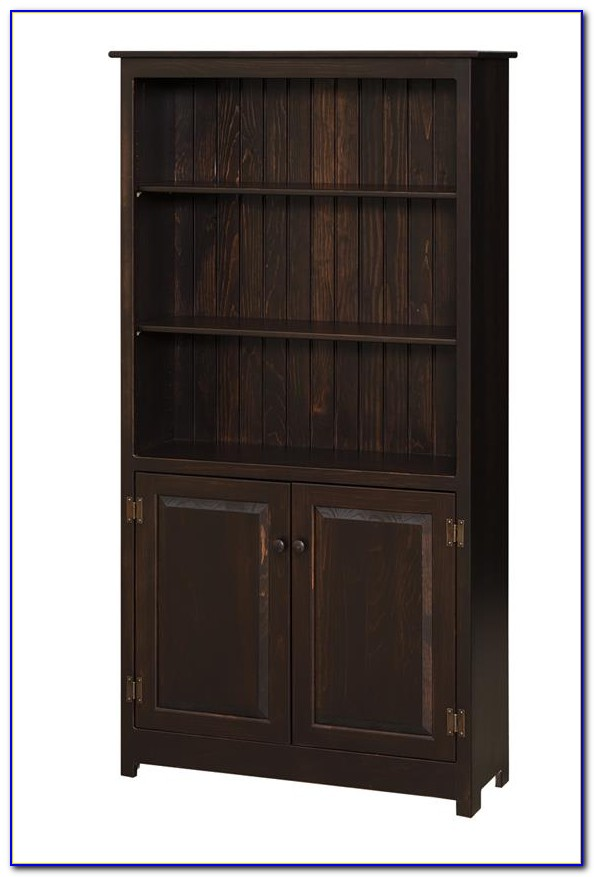 Wood Bookcases With Glass Doors