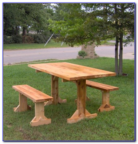 Wood Picnic Table And Bench
