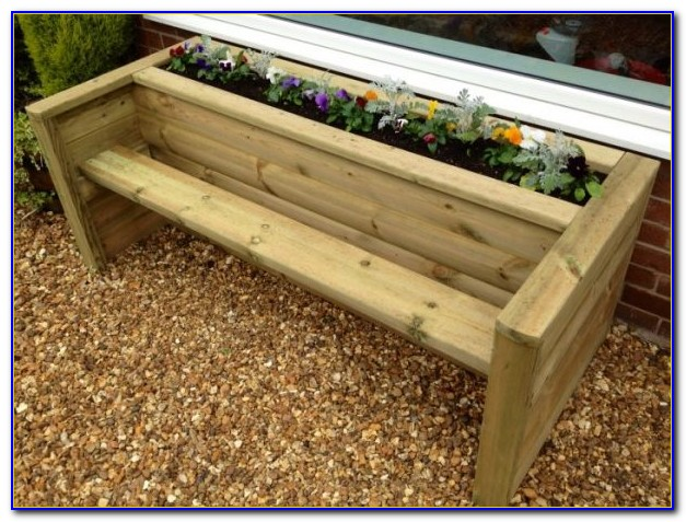 Wooden Bench Seat With Planter Boxes