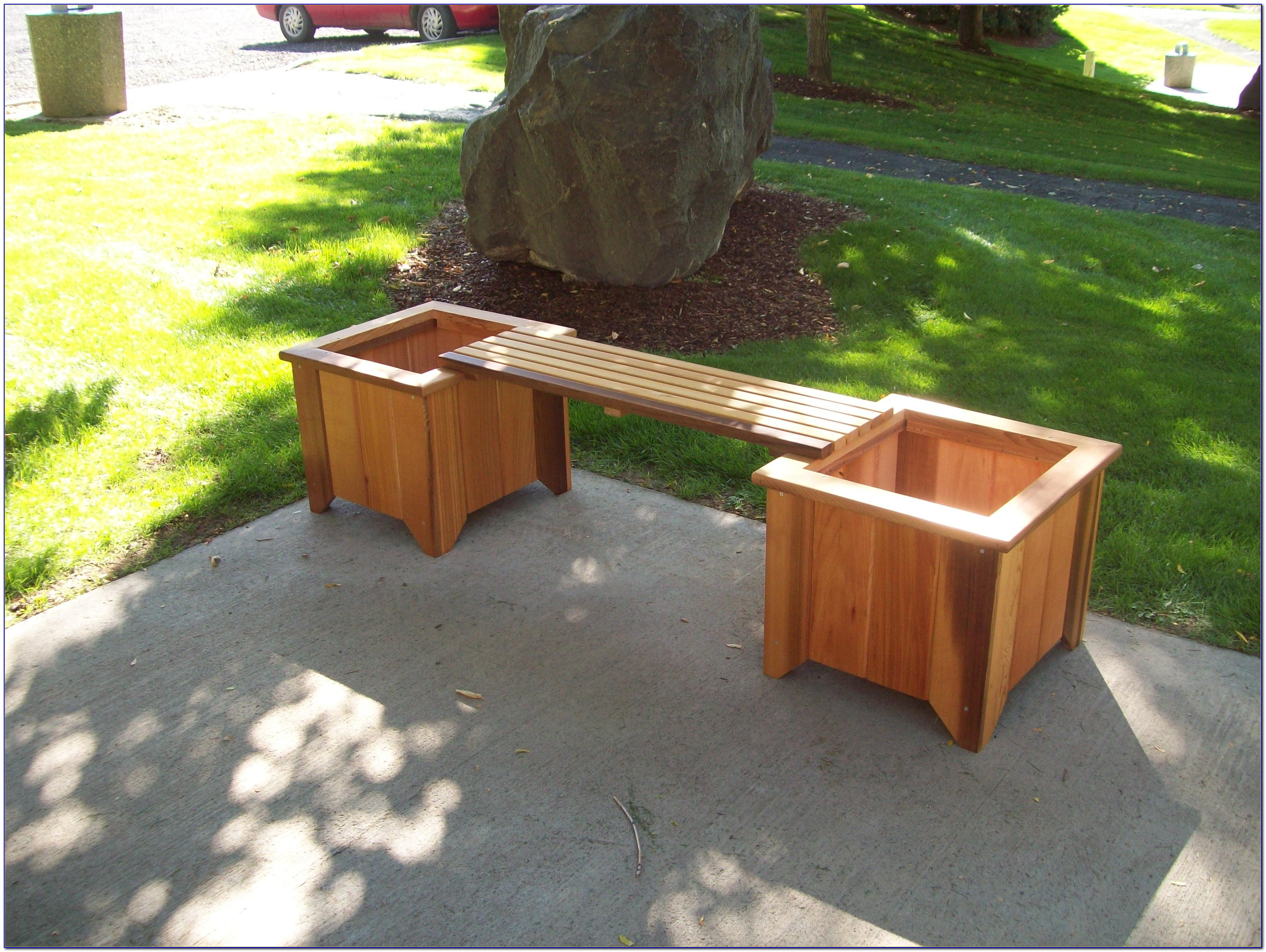 Wooden Bench With Planter Boxes