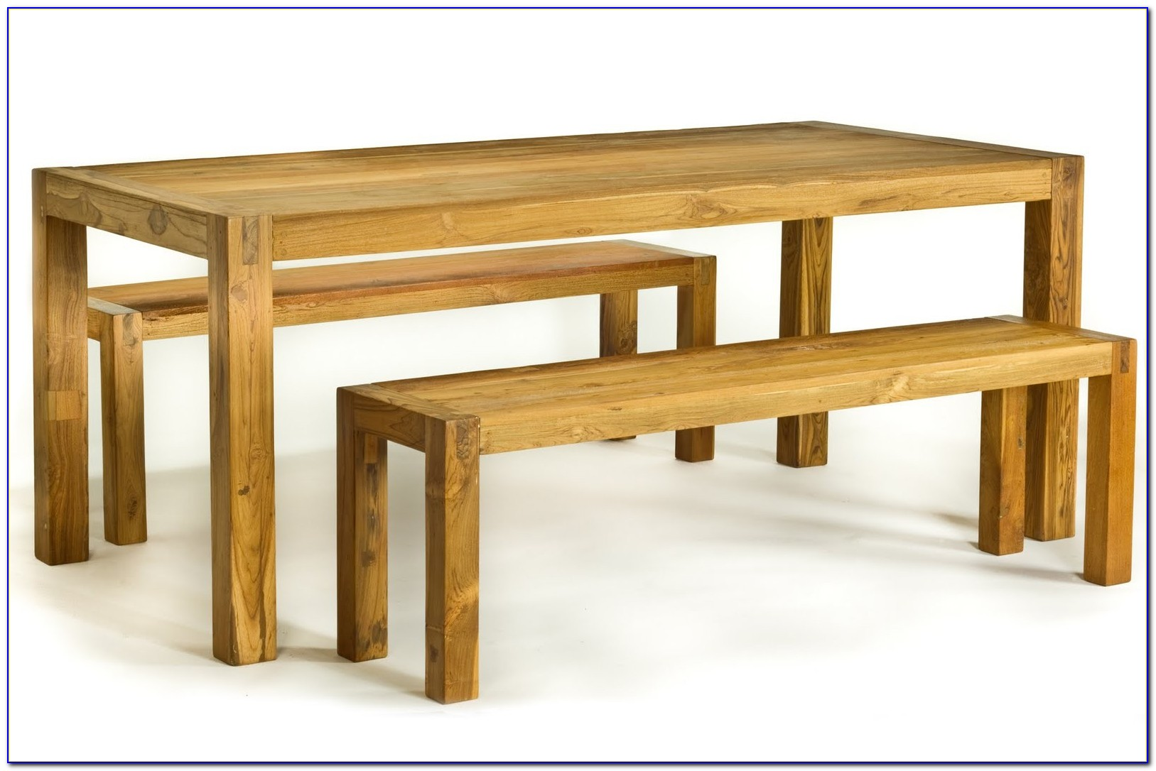 Wooden Dining Table And Bench Set